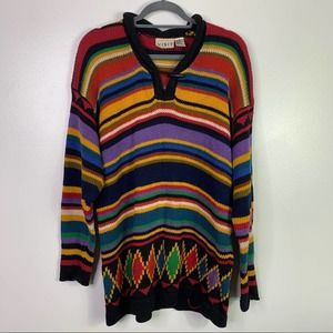 VTG Colorful Oversized Knit Pullover Sweater Women